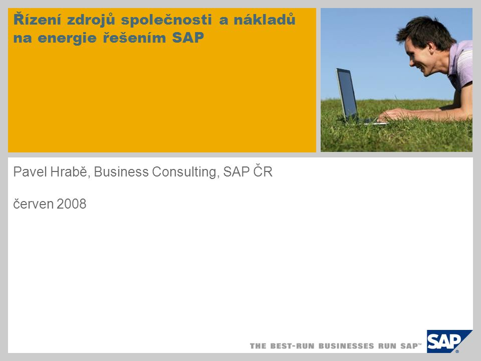 Řízení zdrojů společnosti a nákladů na energie řešením SAP