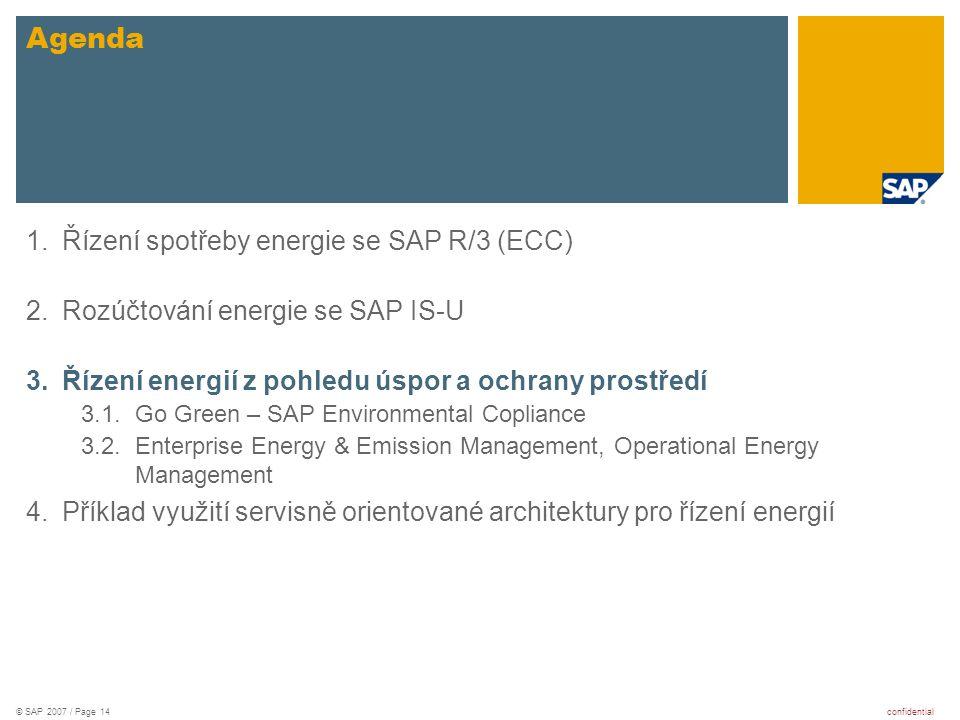 Agenda Řízení spotřeby energie se SAP R/3 (ECC)