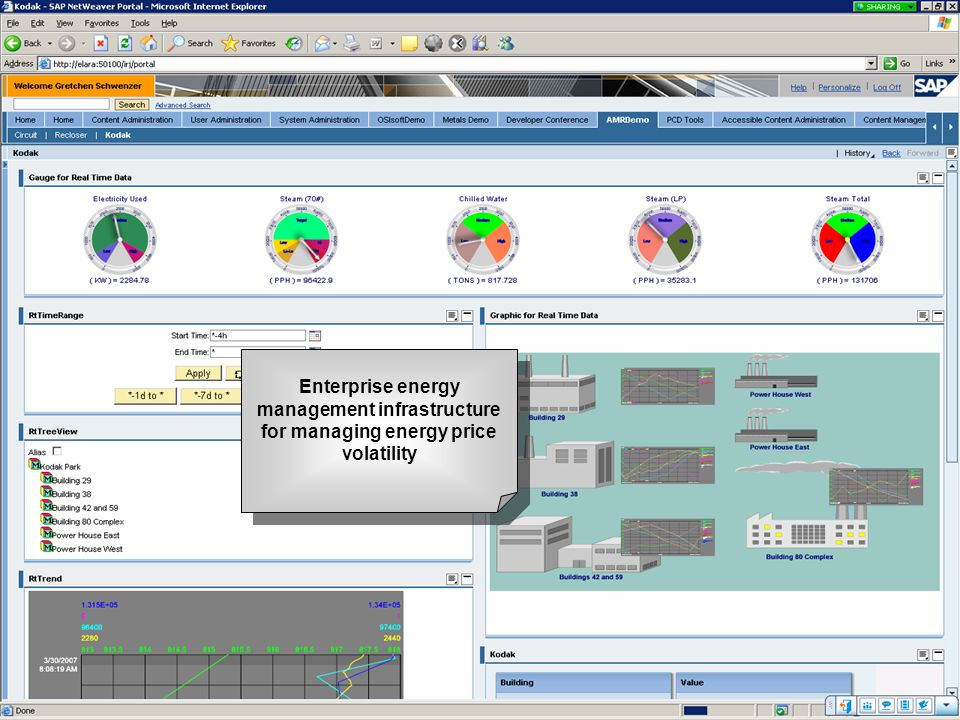 Enterprise energy management infrastructure for managing energy price volatility