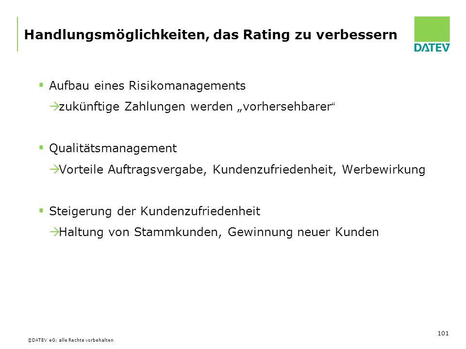 Handlungsmöglichkeiten, das Rating zu verbessern