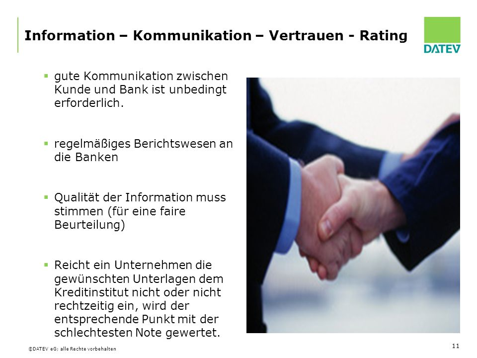 Information – Kommunikation – Vertrauen - Rating