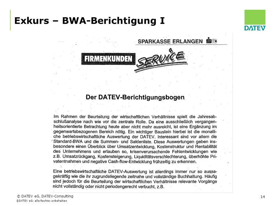 Exkurs – BWA-Berichtigung I