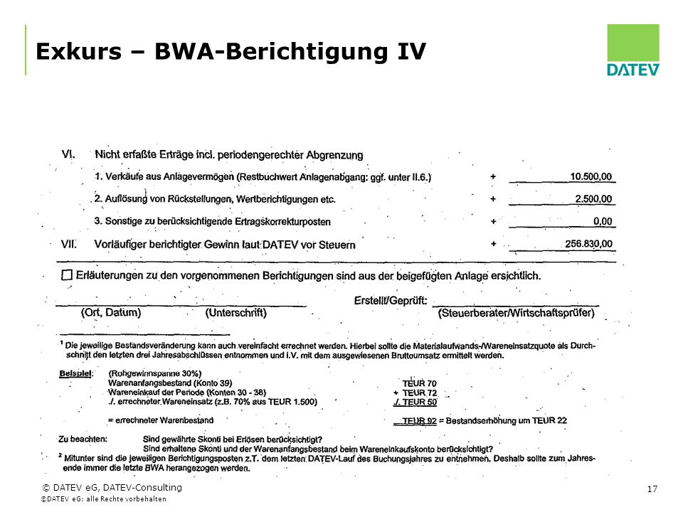 Exkurs – BWA-Berichtigung IV