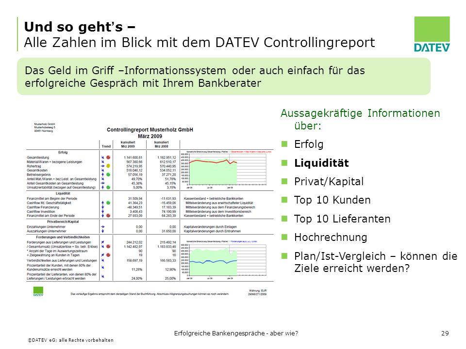Und so geht's – Alle Zahlen im Blick mit dem DATEV Controllingreport