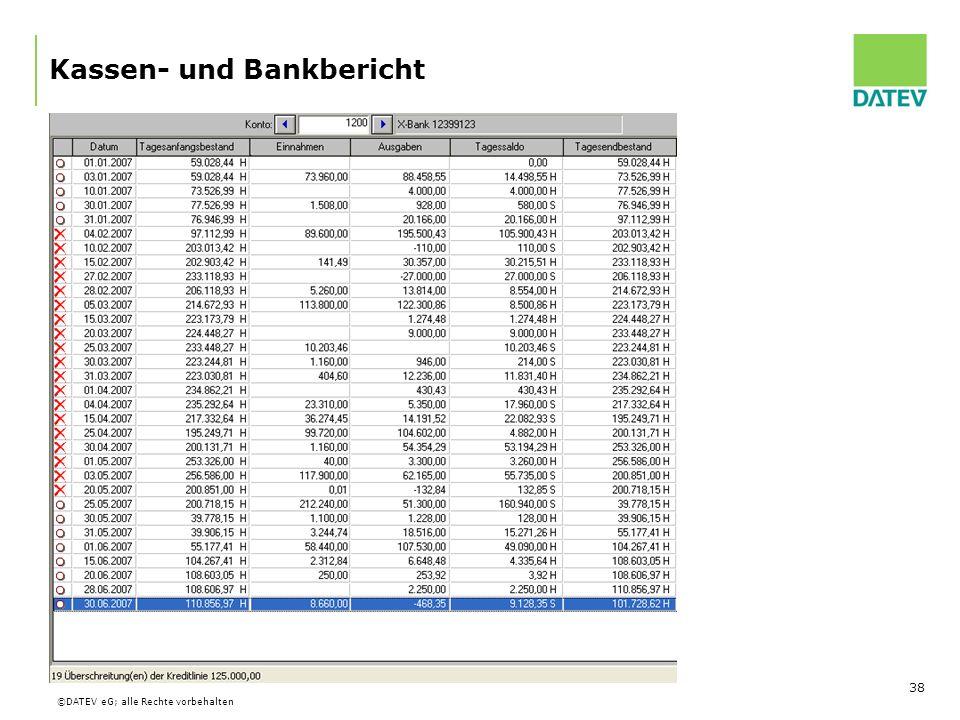 Kassen- und Bankbericht