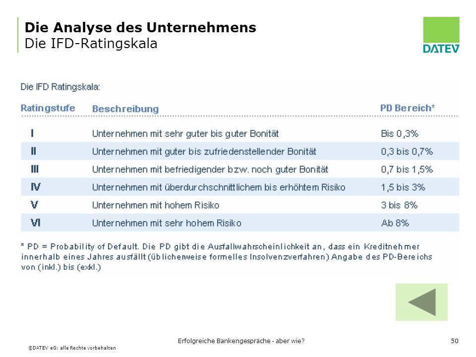 Die Analyse des Unternehmens Die IFD-Ratingskala