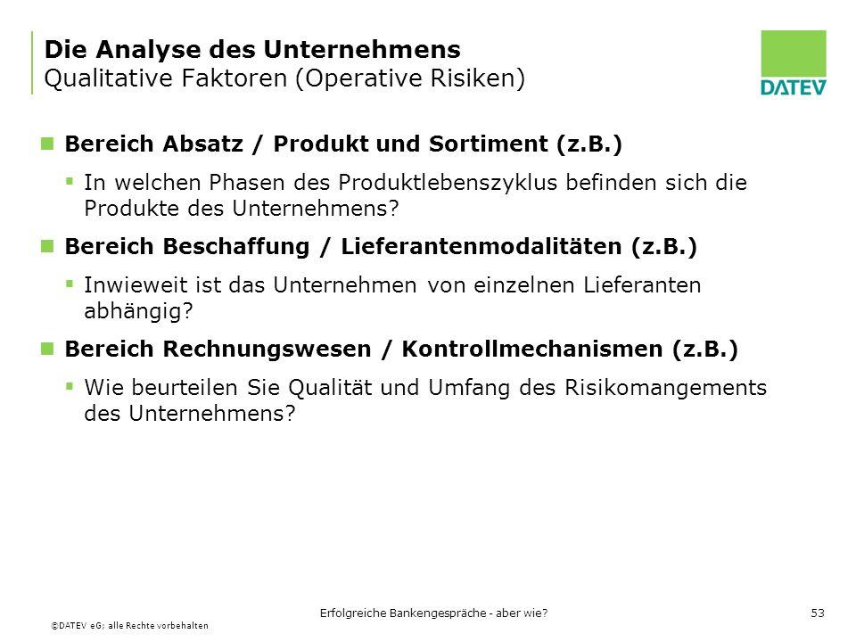 Die Analyse des Unternehmens Qualitative Faktoren (Operative Risiken)