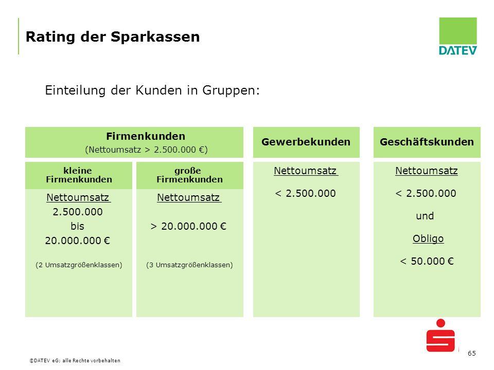 Rating der Sparkassen Einteilung der Kunden in Gruppen: Firmenkunden