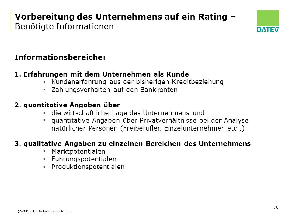 Vorbereitung des Unternehmens auf ein Rating – Benötigte Informationen