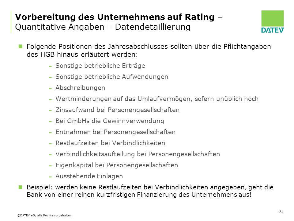 Vorbereitung des Unternehmens auf Rating – Quantitative Angaben – Datendetaillierung