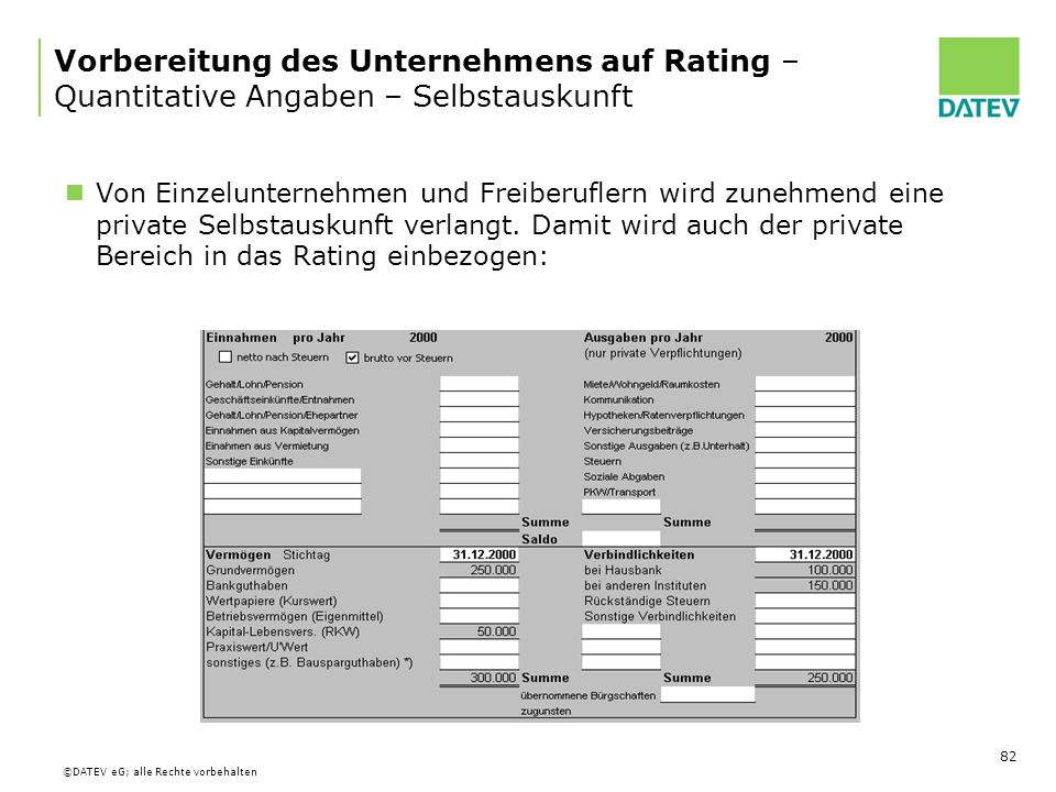 Vorbereitung des Unternehmens auf Rating – Quantitative Angaben – Selbstauskunft