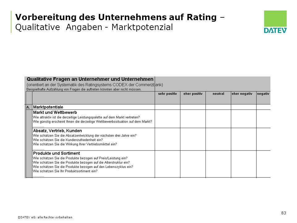 Vorbereitung des Unternehmens auf Rating – Qualitative Angaben - Marktpotenzial