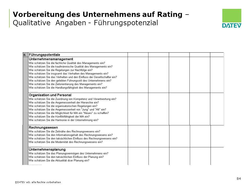 Vorbereitung des Unternehmens auf Rating – Qualitative Angaben - Führungspotenzial