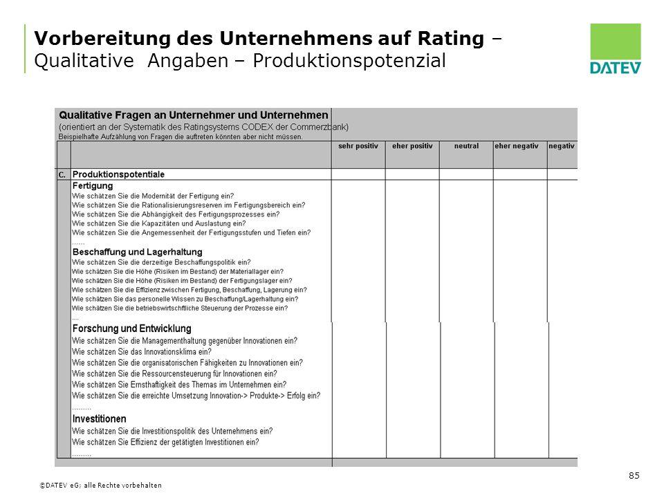 Vorbereitung des Unternehmens auf Rating – Qualitative Angaben – Produktionspotenzial