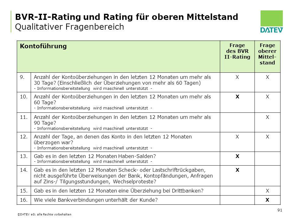 BVR-II-Rating und Rating für oberen Mittelstand Qualitativer Fragenbereich