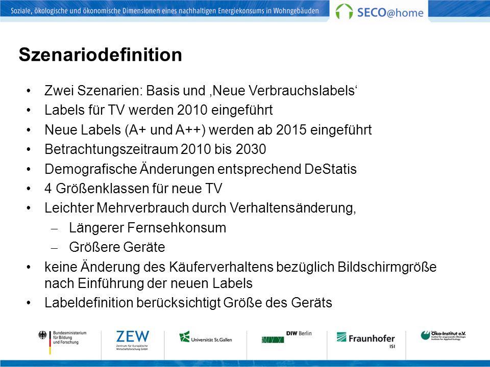 Szenariodefinition Zwei Szenarien: Basis und 'Neue Verbrauchslabels'