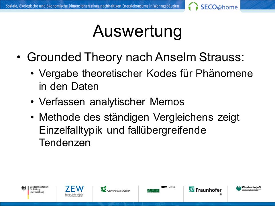 Auswertung Grounded Theory nach Anselm Strauss: