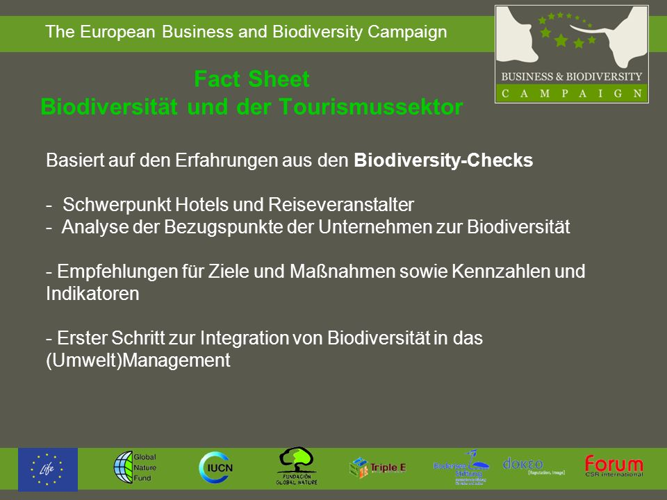 Fact Sheet Biodiversität und der Tourismussektor