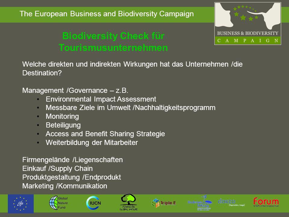 Biodiversity Check für Tourismusunternehmen