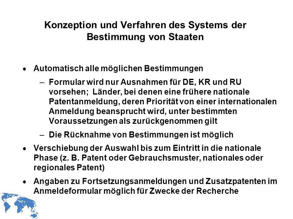 Konzeption und Verfahren des Systems der Bestimmung von Staaten