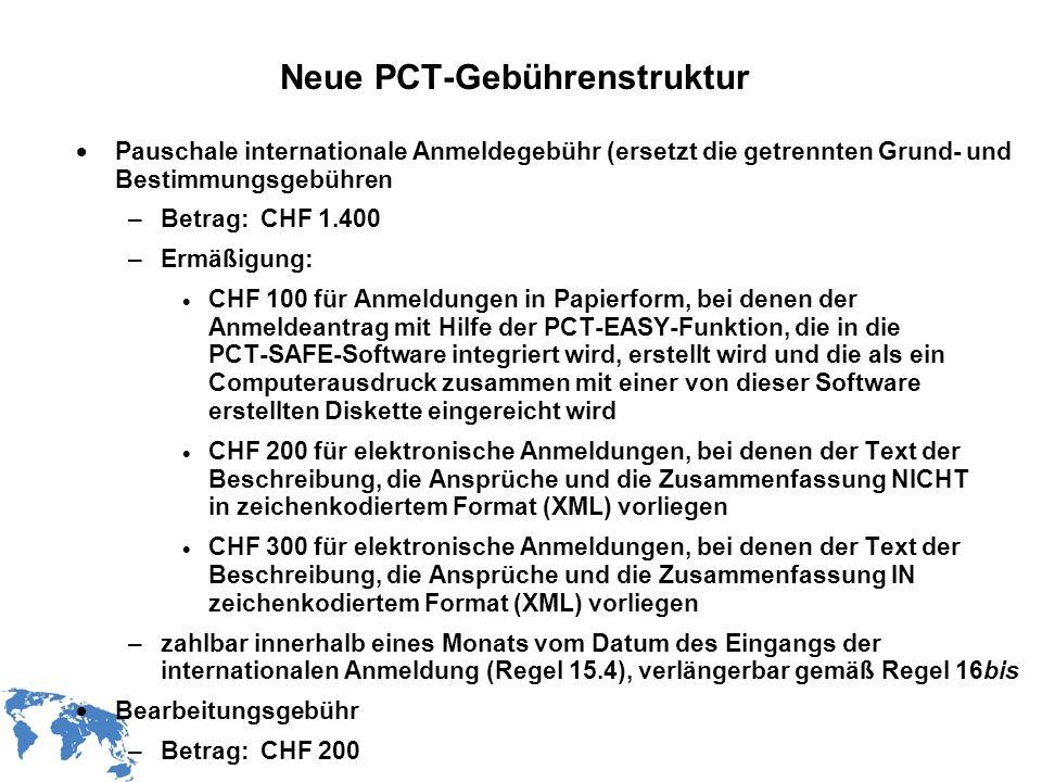 Neue PCT-Gebührenstruktur