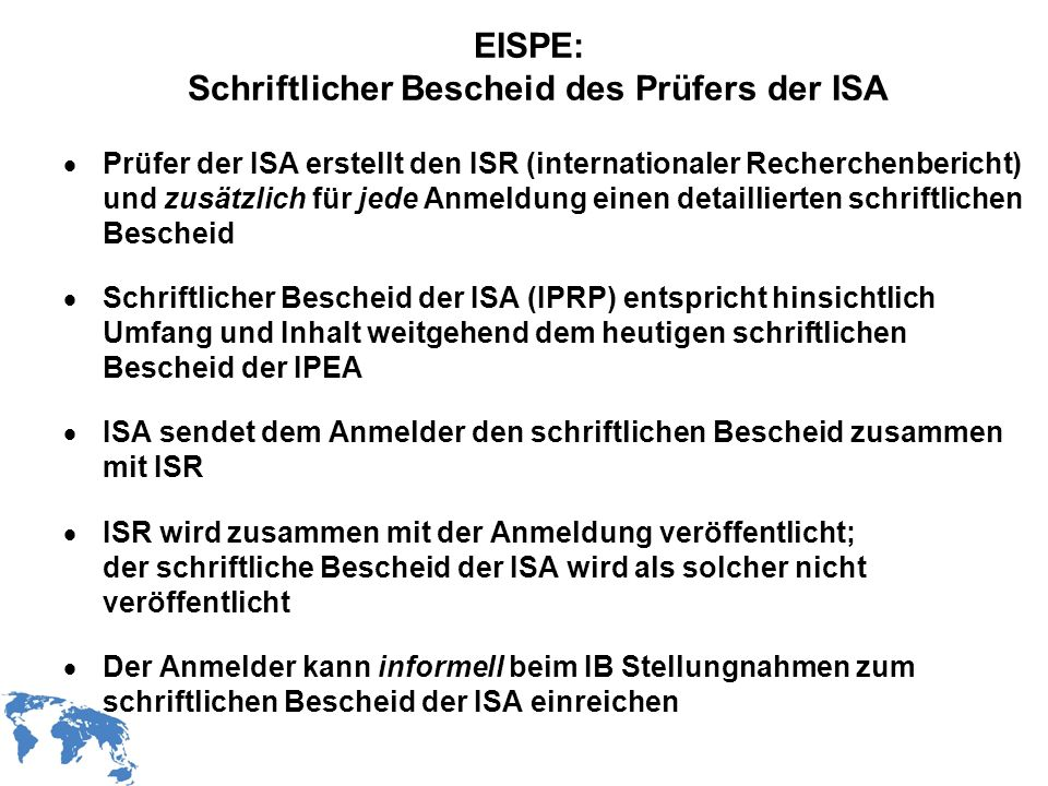 EISPE: Schriftlicher Bescheid des Prüfers der ISA