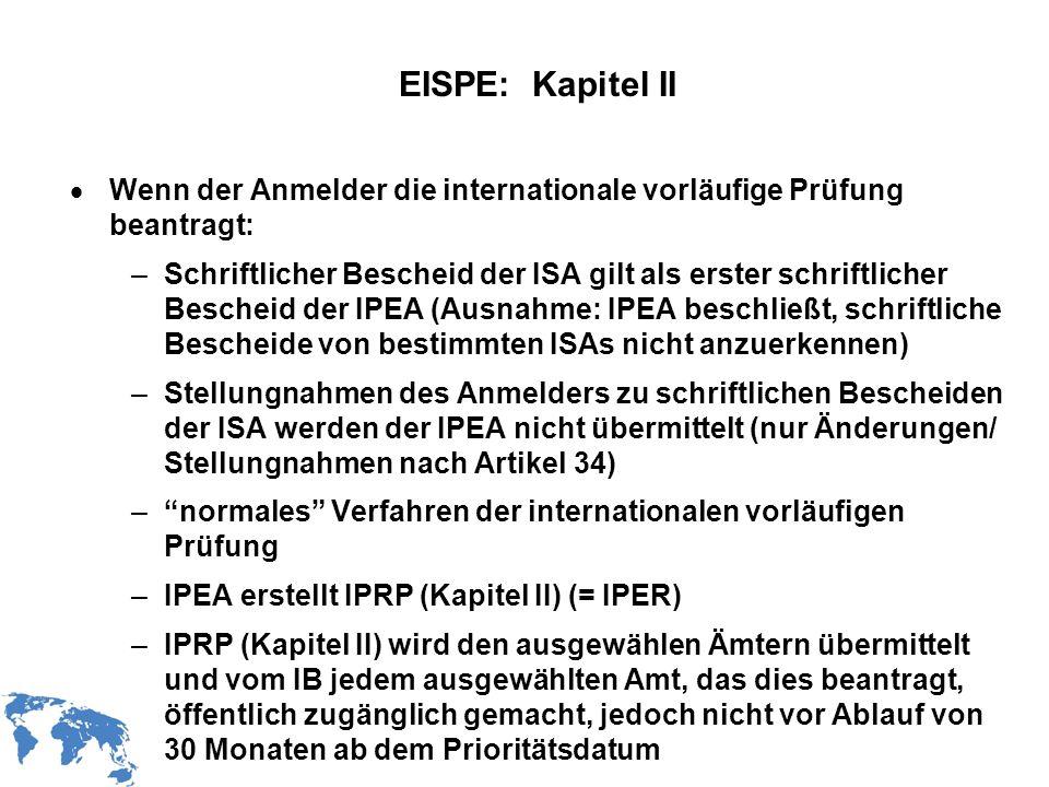 EISPE: Kapitel II Wenn der Anmelder die internationale vorläufige Prüfung beantragt: