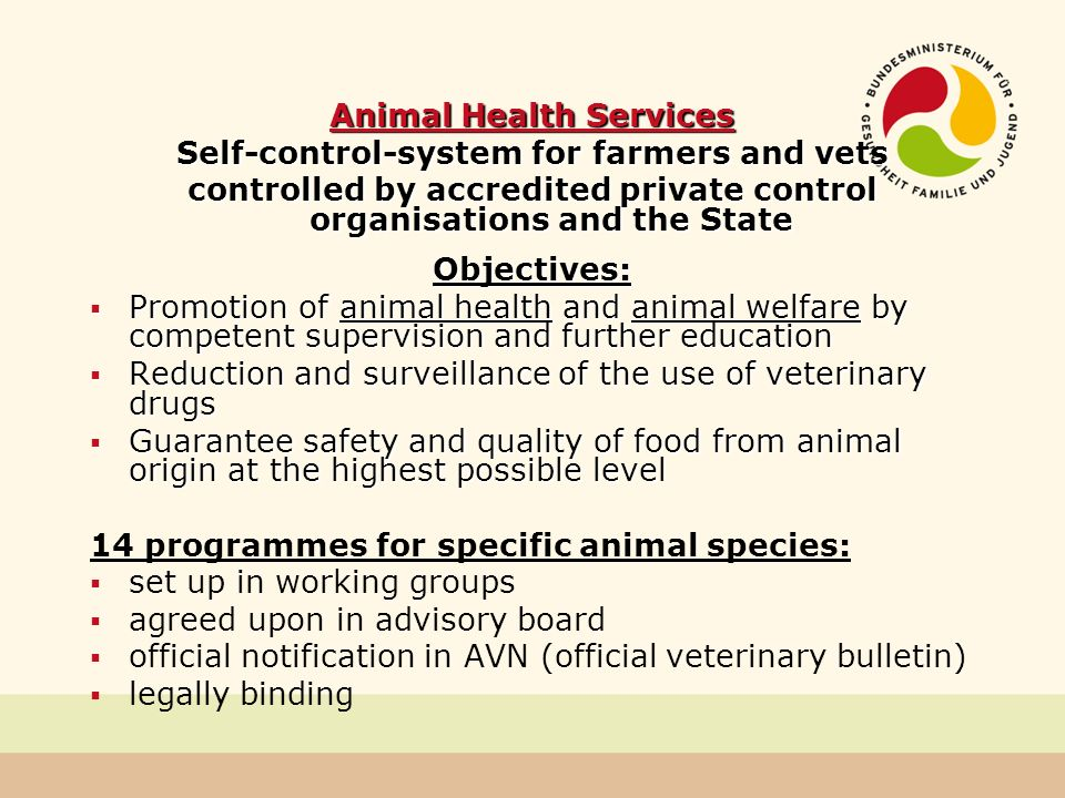 Animal Health Services Self-control-system for farmers and vets