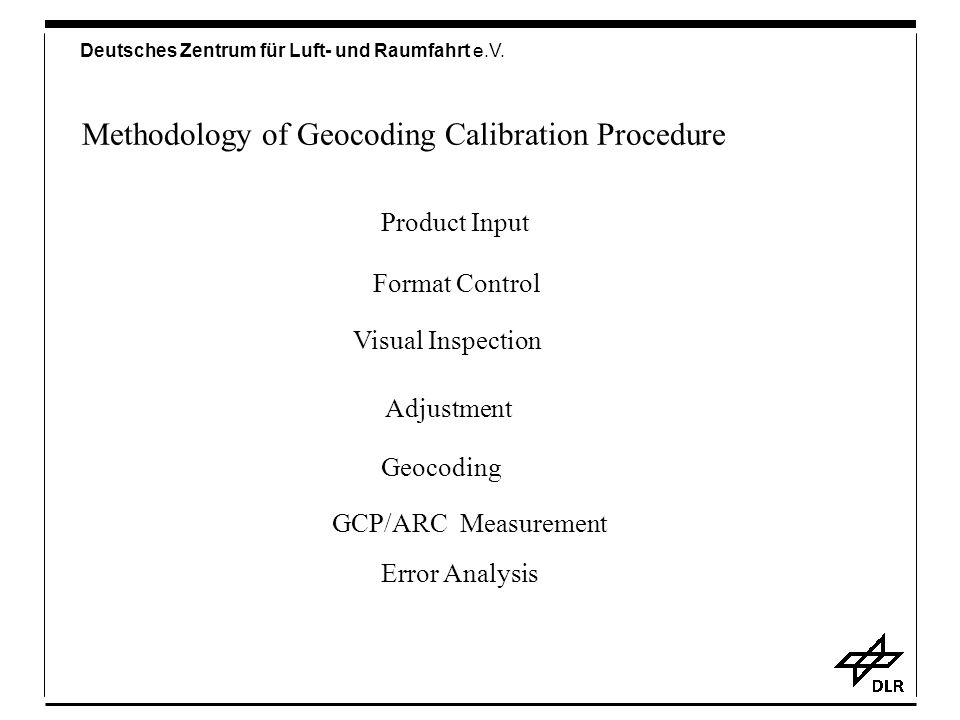 Methodology of Geocoding Calibration Procedure