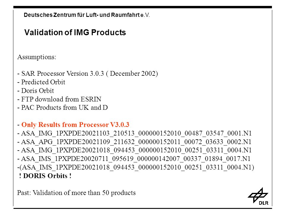 Validation of IMG Products