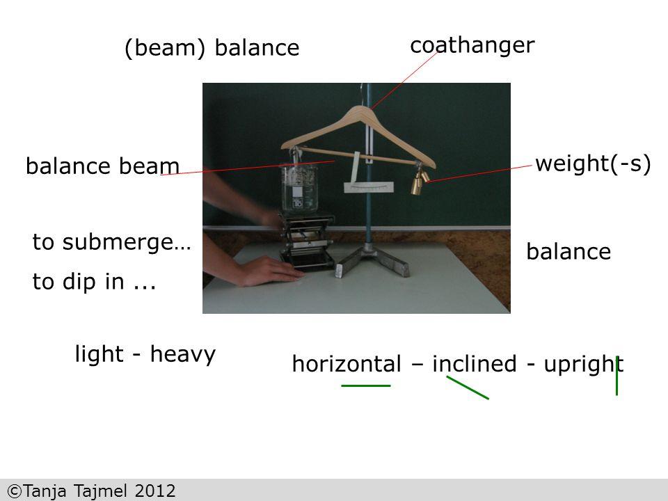 2. Sensibilisierung coathanger (beam) balance weight(-s) balance beam