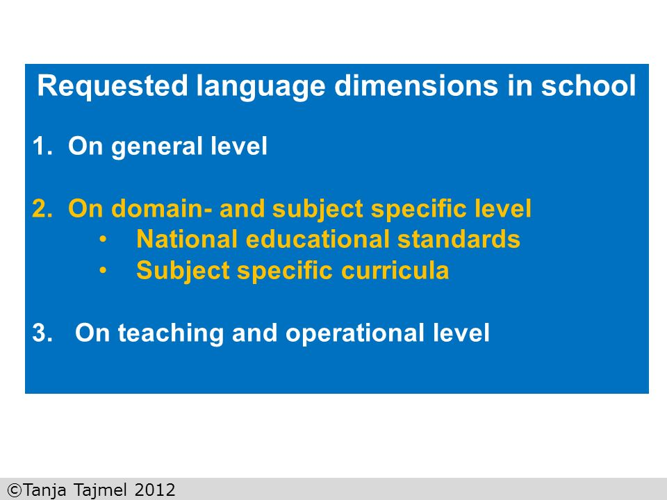 Requested language dimensions in school