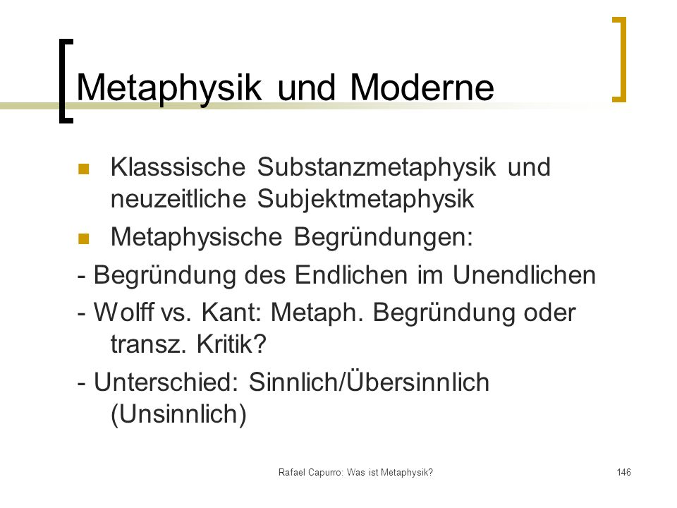 Metaphysik und Moderne