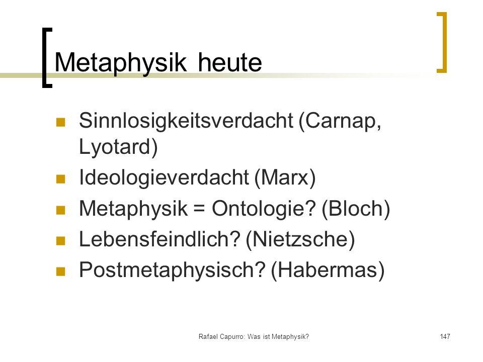 Rafael Capurro: Was ist Metaphysik