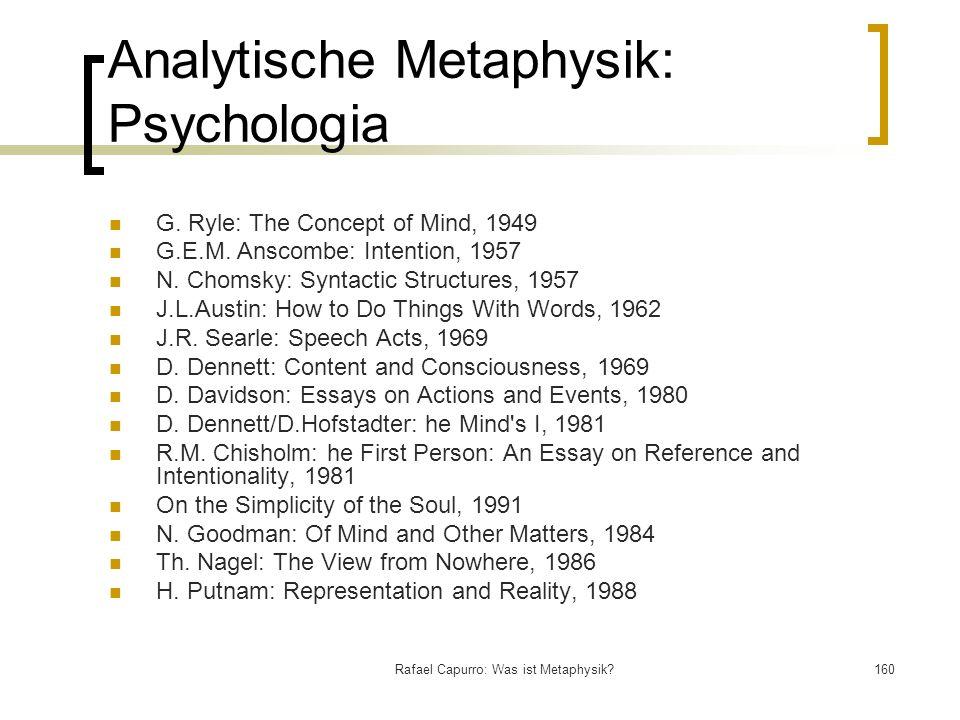 Analytische Metaphysik: Psychologia