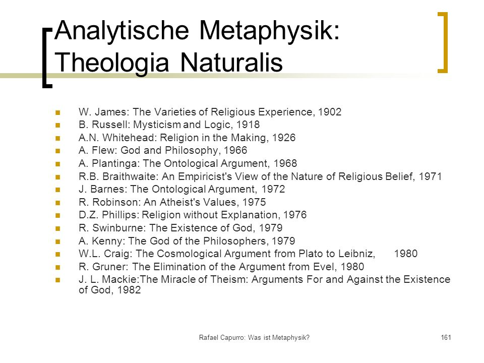 Analytische Metaphysik: Theologia Naturalis