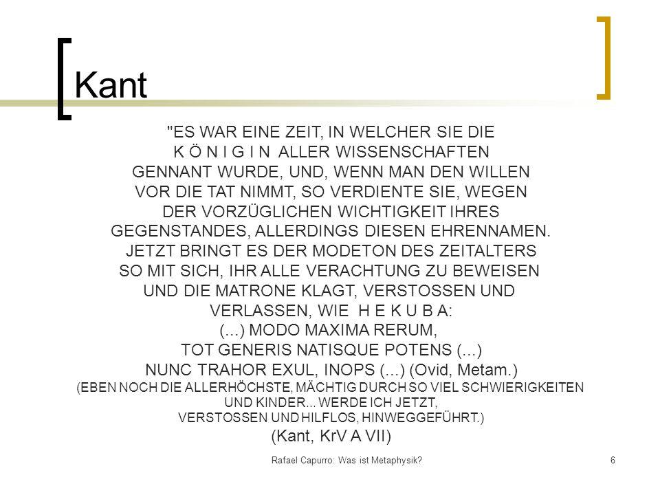Kant ES WAR EINE ZEIT, IN WELCHER SIE DIE