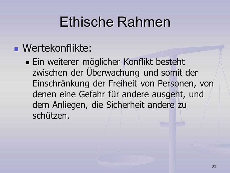 Ethische Rahmen Wertekonflikte: