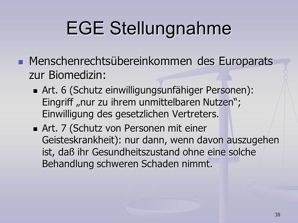 EGE StellungnahmeMenschenrechtsübereinkommen des Europarats zur Biomedizin: