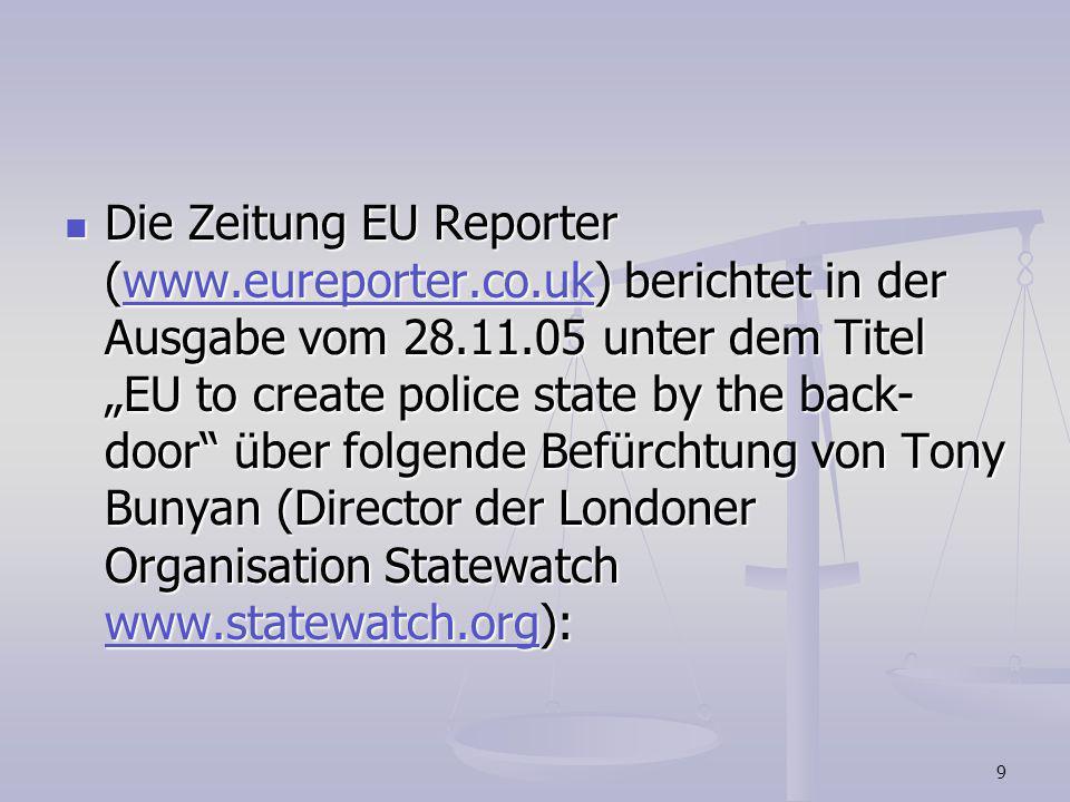 Die Zeitung EU Reporter (www. eureporter. co