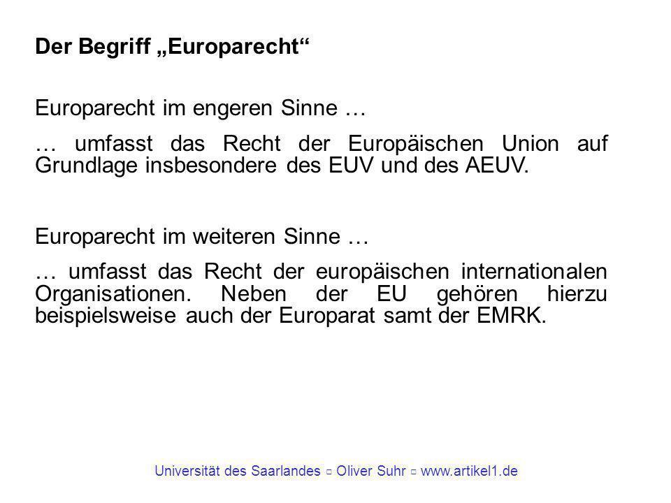 """Der Begriff """"Europarecht"""