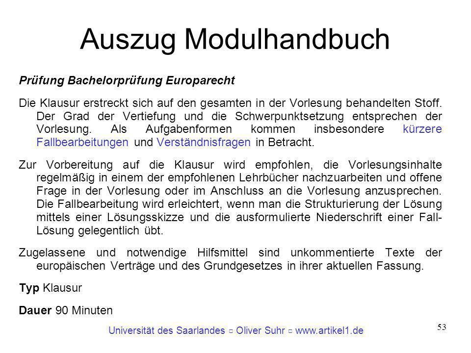 Auszug Modulhandbuch Prüfung Bachelorprüfung Europarecht