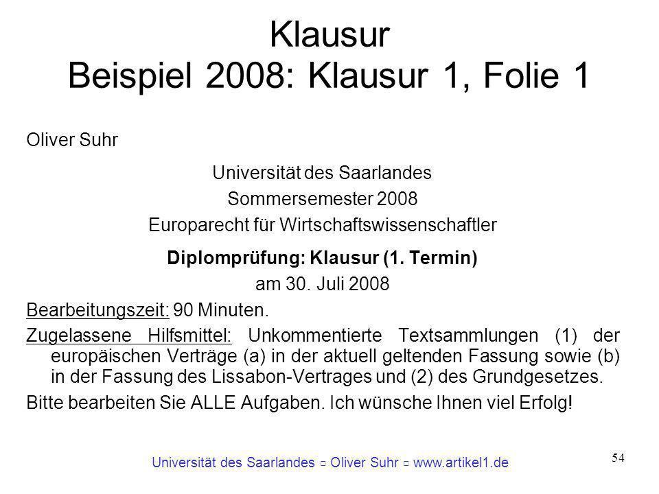 Klausur Beispiel 2008: Klausur 1, Folie 1