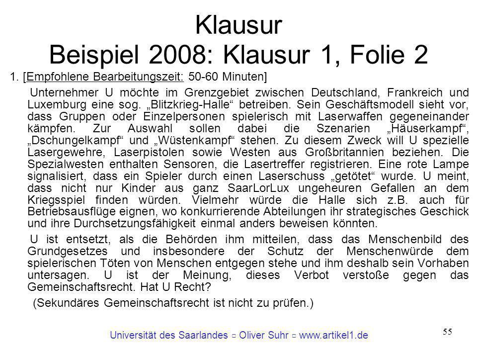 Klausur Beispiel 2008: Klausur 1, Folie 2