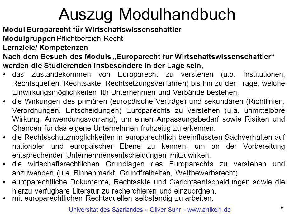 Auszug Modulhandbuch Modul Europarecht für Wirtschaftswissenschaftler