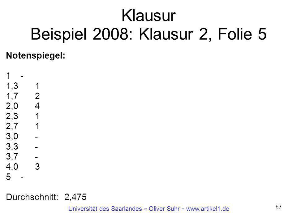 Klausur Beispiel 2008: Klausur 2, Folie 5