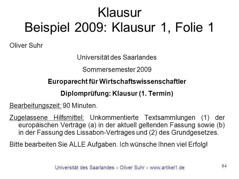 Klausur Beispiel 2009: Klausur 1, Folie 1