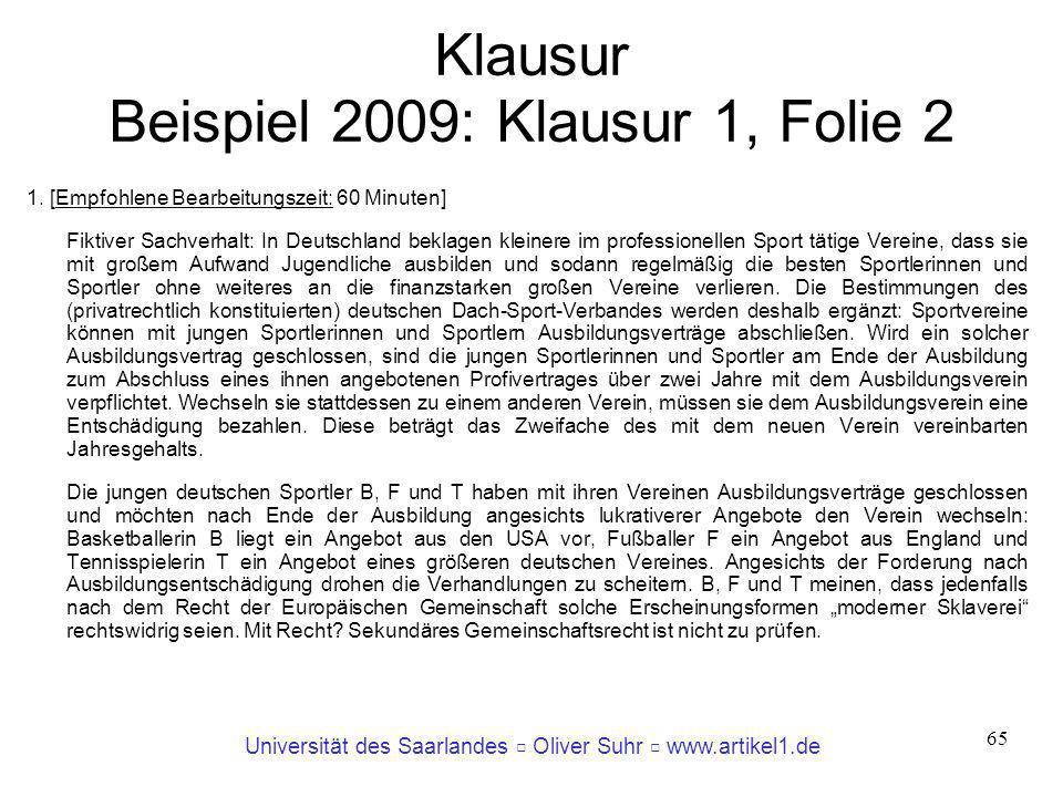 Klausur Beispiel 2009: Klausur 1, Folie 2