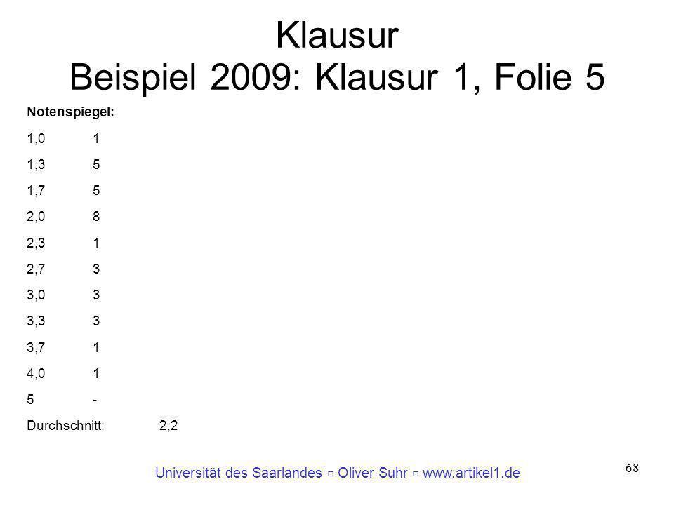 Klausur Beispiel 2009: Klausur 1, Folie 5
