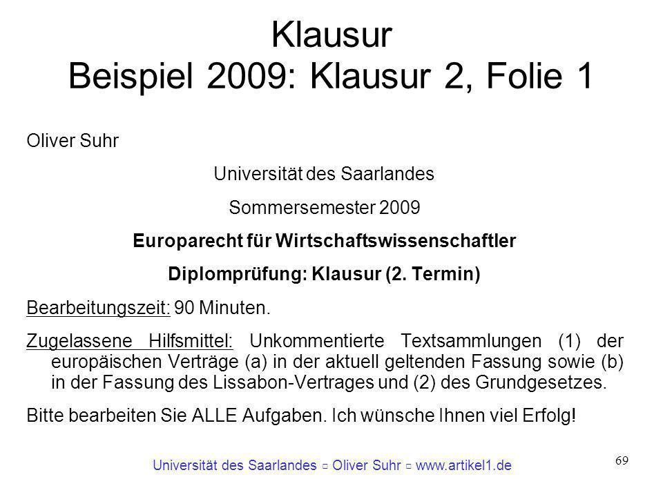 Klausur Beispiel 2009: Klausur 2, Folie 1